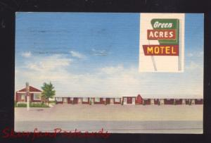 AFTON OKLAHOMA ROUTE 66 GREEN ACRES MOTEL LINEN ADVERTISING POSTCARD