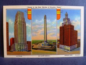 Postcard TX Houston Giants Skyline Gulf Esperson Building San Jacinto Memorial