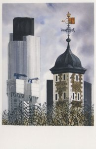 Natwest Tower Compass Lloyds Building London Painting Postcard