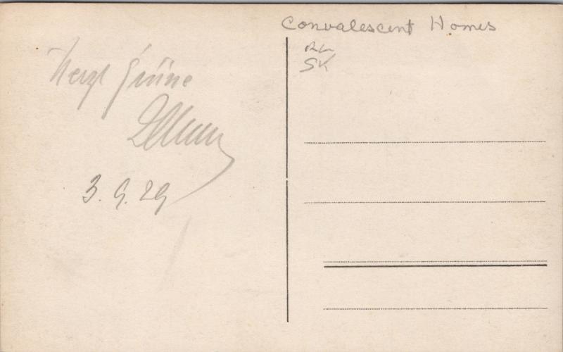 Man and Woman Reading Convalescent Home Unknown Location c1928 RPPC Postcard E35