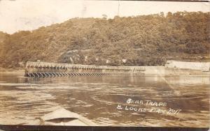E93/ Wellsburg West Virginia RPPC Postcard Ohio River? Lock #11 Traps Bethany