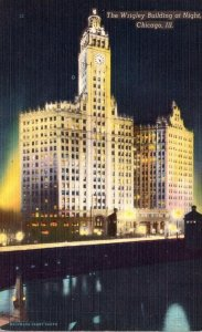 Illinois Chicago Wrigley Building At Night