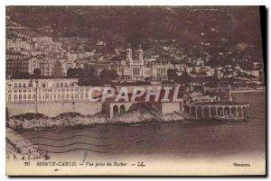 Old Postcard Monte Carlo Rock View taken