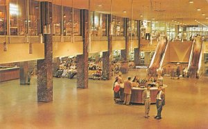 CHICAGO IL Illinois GREYHOUND BUS TERMINAL~Interior Lobby c1950s Chrome Postcard