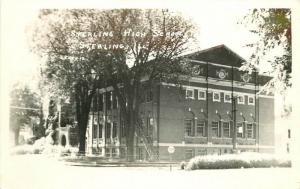 High School Sterling Illinois 1940s RPPC Photo Postcard 13388