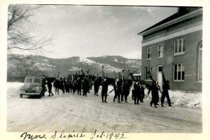 NH - North Conway, February 1942. Slopies from the Snow Train (3.25 X 5.00)
