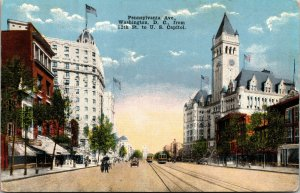 Vtg 1910s Pennsylvania Avenue 12th Street to US Capitol Washington DC Postcard