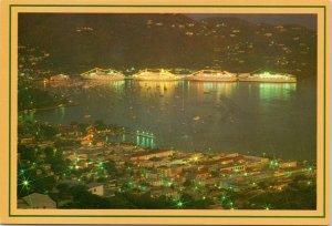 postcard Virgin Islands - Charlotte Amalie Harbor at dusk