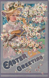 EASTER, PU-1909; Greeting, Woman smelling the flowers, holding book
