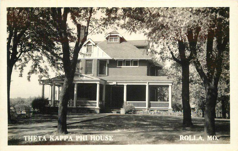 1940s College Fraternity House Theta Kappa Phi House RPPC Rolla Missouri 5550