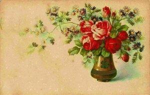Red Roses in Vase Flowers Fleurs Postcard