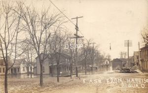 C45/ Piqua Ohio Postcard Real Photo RPPC c1913 Flood Disaster Ash Harrison Homes