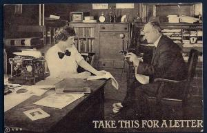 'Take This for a Letter' Office/Secretary unused c1910's
