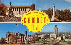 Camden New Jersey 1960s Postcard Multiview Library HIgh School Shopping