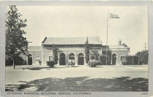 Merced California~Veterans Memorial Building~1910 Silver Border Postcard