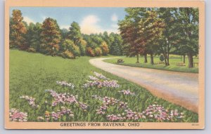 Ravenna, Ohio Greetings from Ravenna Ohio Country Road, car parked on grass