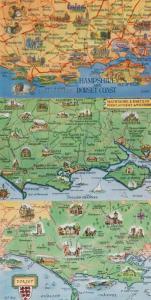 Hampshire & Dorset Coast 3x 1970s Map Postcard s