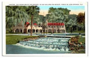 Cascade, Overflow of the Springs, Ponce de Leon Springs, FL Postcard
