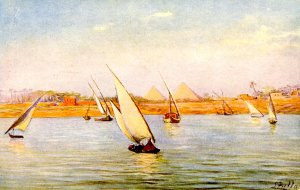 Egypt - Boats on the Nile, Pyramids