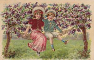 Young Rpmantic Couple On Hammock 1907