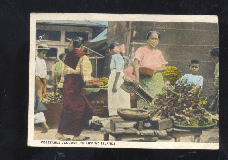 PHILIPPINE ISLANDS PHILIPPINES VEGETABLE VENDORS WOMEN VINTAGE POSTCARD