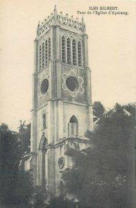 Gilbert Islands Apaiang church tower vintage postcard