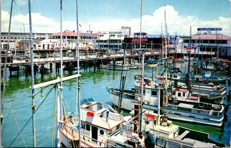 PIERS BOATS FISHERMANS WHARF SAN FRANCISCO CALIFORNIA POSTCARD