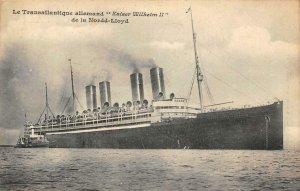 Le Transatlantique allemand Kaiser Wilhelm II Nordd-Lloyd 1909 Vintage Postcard