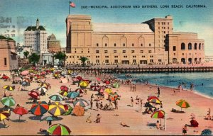 California Long Beach Municipal Auditorium and Bathers
