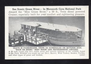 MAMMOTH CAVE NATIONAL PARK INTERIOR BOAT VINTAGE ADVERTISING POSTCARD KY.
