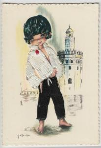 Spanish Embroidered Postcard- Cute Barefoot Boy, Appliqué Stitching, Unposted