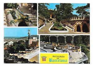 Spain Recuerdo de Barcelona Parque Guell Multiview Park Gardens 4X6 Postcard