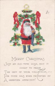 Christmas Santa Claus Red Robe Standing In Front Of Christmas Tree 1925