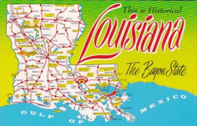 Map Of Louisiana Bayou.Map Of Louisiana The Bayou State Hippostcard