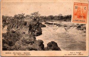 Angola Rio Cunene Postcard unused '20s Portuguese Angola S Tome E Principe Stamp