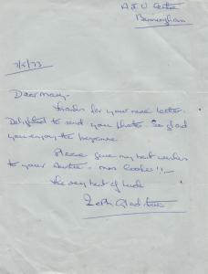 Zeth Gladstone 1970s Crossroads TV Show Hairdresser ATV 1973 Hand Signed Letter