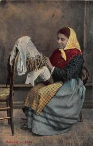 Malta Lace Woman in Traditional Costume Working Postcard