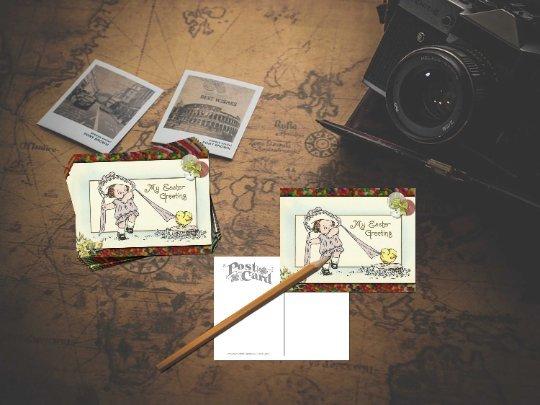 1 Single Handmade Postcard Little Girl in Merry Widow's Hat Fighting w/Chick
