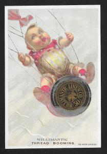 VICTORIAN TRADE CARD Willimantic Thread Baby Parachuting
