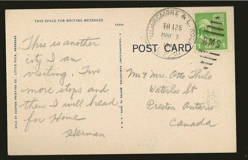 USA Postmark 1946 Main Street Little Rock Arkansas Linen Postcard