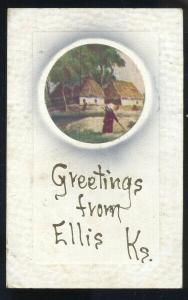 GREETINGS FROM ELLIS KANSAS VINTAGE POSTCARD 1910 MARYSVILLE KANS. SAATHOFF