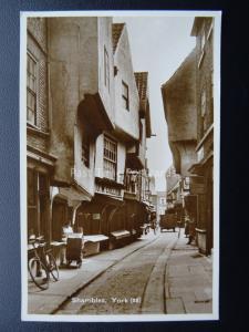Yorkshire YORK The Shambles shows J.W.COLLIER c1926 RP Postcard by Valentine