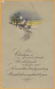 Vintage Christmas Christmas is for good friends... Winter farm scene 1926