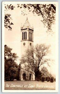 Ames~Iowa State College~Campanile Clock 11:22~4H Girls Convention~1936 RPPC