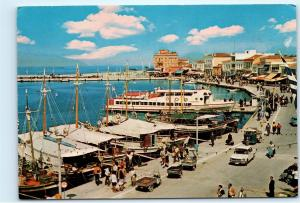 Greece Aegina Town Port Harbour Harbor Vintage 4X6 Postcard D56