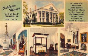 Franklin Louisiana Oaklawn Manor Multiview Antique Postcard K42173