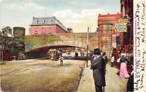 Springfield MA~Trolley Under Railroad Arch~Cooley's Hotel~Family Outfitters~1906