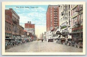 Dallas Texas~Elm Street~Vaudeville & Picture Theatre~Furniture Store~1920s Cars