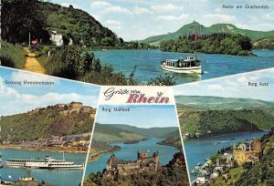 BG10826 grusse vom rhein ship bateaux burg stahleck burg katz  germany