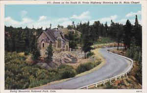Scene On The South Saint Vrain Highway Showing The Saint Malo Chapel Rocky Mo...